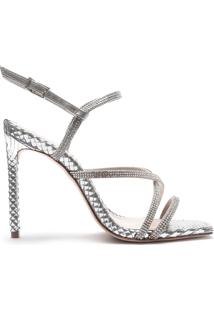 Sandália Salto Curves Glam Prata | Schutz