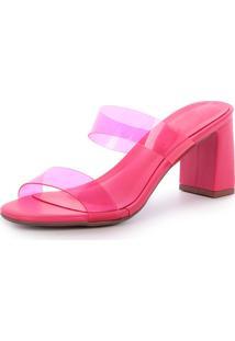 Sandália Salto Alto Damannu Shoes Ivy Vinil Transparente Rosa