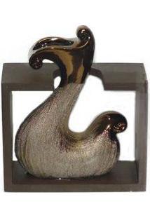 Vaso Decorativo Cerâmica Suporte Madeira Nunavut Cor Bronze