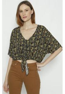 Camisa Com Amarraã§Ã£O - Verde & Marrom - Sommersommer