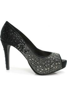 2ada5206cc ... Peep Toe Zariff Shoes - Feminino-Preto+Prata