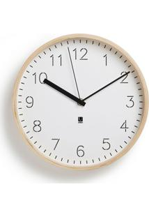 Relógio De Parede Rinwood Branco E Natural