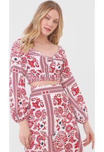 Blusa Cropped Maria Filã³ Marrocos Vermelha - Vermelho - Feminino - Viscose - Dafiti