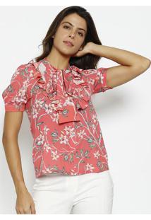 Camisa Com Babados & Amarraã§Ã£O - Coral & Verde - Alfalfreda