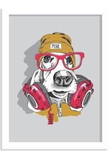 Quadro Decorativo Hype Dog Music Branco - Médio