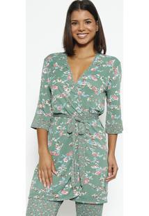 Robe Floral Com Amarração- Verde & Rosafruit De La Passion