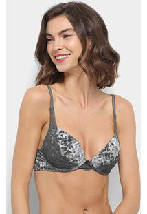 Sutiã Hope Com Bojo Push Up Animal Print Renda - Feminino-Cinza
