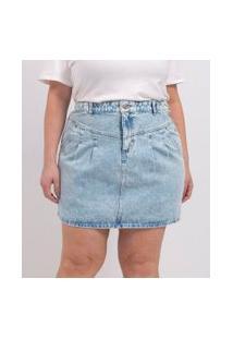 Saia Curta Jeans Com Pregas Curve & Plus Size | Ashua Curve E Plus Size | Azul | 46
