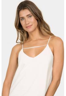 Blusa Com Alças Decote V Branco Off White - Lez A Lez