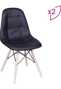 Jogo De Cadeiras Eames Botonãª- Preto & Bege Claro- 2Or Design