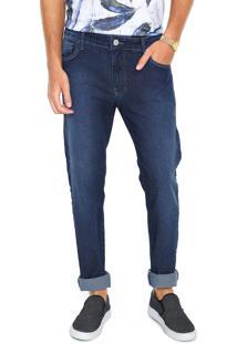 Calça Jeans Coca Cola Slim Pesponto Azul