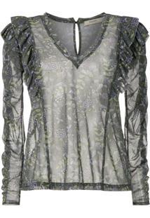 Fillity Blusa Transparente Com Babados Estampada - Verde