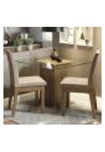Conjunto Sala De Jantar Madesa Rosi Mesa Tampo De Vidro Com 2 Cadeiras