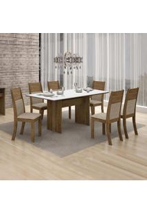 Conjunto De Mesa De Jantar Florença Com 6 Cadeiras Havai Linho Ype Branco
