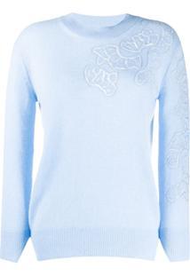 Ermanno Scervino Suéter De Cashmere Com Padronagem Floral - Azul