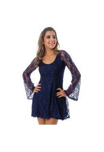 Vestido B'Bonnie Curto De Renda Sara Azul Marinho
