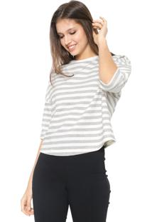 Blusa Hering Listrada Off-White/Cinza
