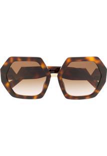 Valentino Eyewear Óculos De Sol Oversized - Marrom