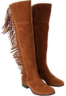 Bota Walkabout Over The Knee Franjas - Feminino-Caramelo