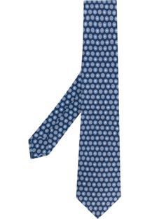 Kiton Gravata Estampada - Azul