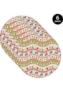 Sousplat Mdecore Natal Papai Noel 32X32Cm Verde 6Pçs