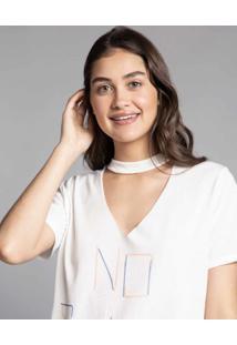 Blusa Choker Estampada Eco Branco Off White - Lez A Lez