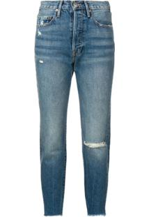 Frame Distressed Cropped Jeans - Azul