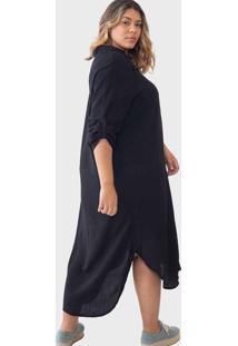 Vestido Chemise Longo Com Fendas Viscolinho Plus S