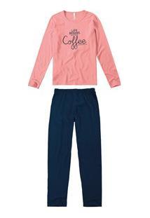 Pijama Longo Coffe Malwee Liberta (1000052282) 100% Algodão
