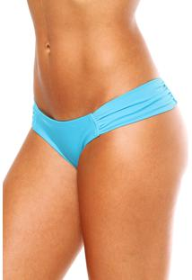 Calcinha Blue Horse Virginia Lateral Larga Franzida Lycra Mareia Azul