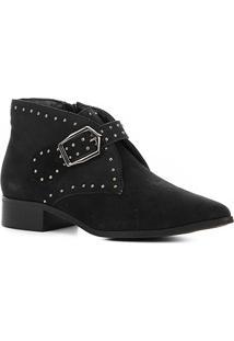 Bota Cano Curto Couro Shoestock Metal Feminina - Feminino-Preto