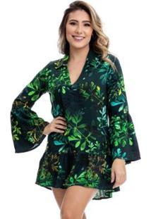 Vestido Clara Arruda Manga Larga Estampado Feminino - Feminino-Verde Escuro