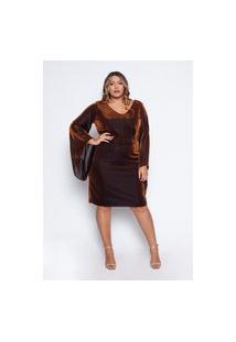 Vestido Almaria Plus Size Pianeta Curto Lurex Bronze