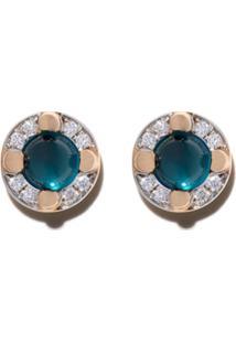 Pomellato Par De Brincos De Ouro Rosé 18K De Topázio E Diamante - Blue