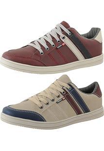 Kit Tênis Sapatenis Cr Shoes Leve E Baixo Lançamento Vermelho E Bege