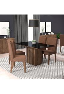 Conjunto De Mesa De Jantar Ana Com 4 Cadeiras Taís Suede Preto E Chocolate