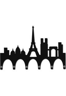 Porta Chaves De Parede Mdf 6 Pontas Paris Preto Smartfix