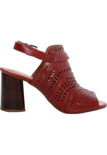 Sandália Alta Recorte Laser - Feminino-Vermelho