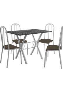 Conjunto De Mesa Miami 4 Cadeiras Branco/Cacau Fabone Móveis Tubulares
