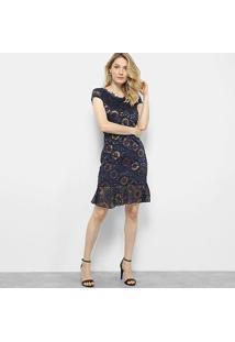 Vestido Lily Fashion Curto Floral Renda - Feminino-Marinho