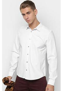 Camisa Opera Rock Básica Manga Longa Masculina - Masculino-Branco