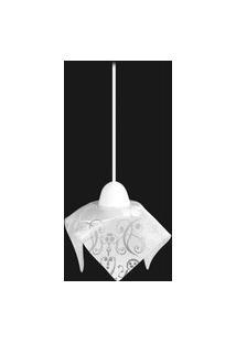 Pendente De Vidro Tulipa 1 Lâmpada Fluorescente Compacta Floral Branco Auremar