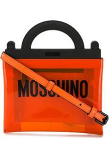 Moschino Bolsa De Mão De Pvc Com Logo - Laranja