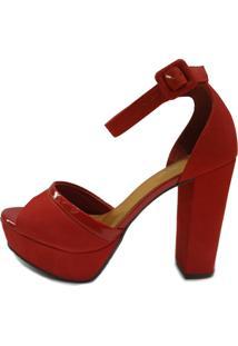 Sandália Scarpan Calçados Finos Couro Cereja Meia Pata E Salto Grosso Vermelho