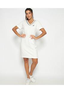 Vestido Em Piquê Com Bordado - Off White & Azul Marinhofila
