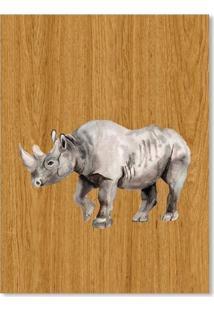 Quadro Rinoceronte M Madeira - Incolor - Dafiti