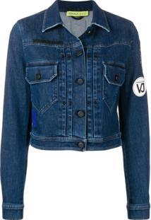 Versace Jeans Jaqueta Cropped Com Logo - Azul
