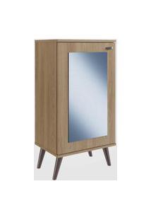 Sapateira Retrô Com Espelho, 1 Porta E 3 Prateleiras Oak Completa Móveis