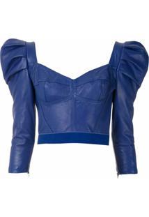 Andrea Bogosian Blusa De Couro Mangas Bufantes - Azul