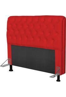 Cabeceira Paris Para Cama Box Casal 140 Cm Paris Corino Vermelho- Js Móveis